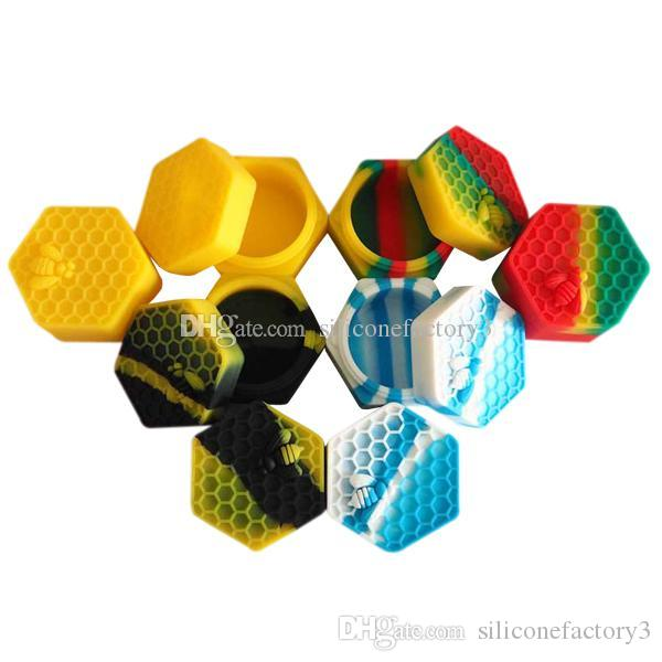 10pcs/lot 26ml hexagon with bee assorted color silicone container for Dabs Round Shape Silicone Containers wax Silicone Jars Dab containers