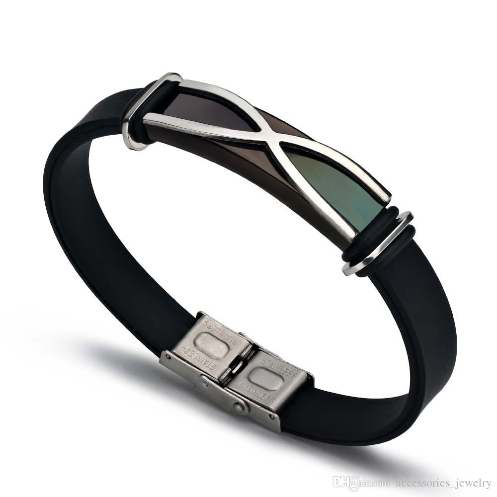 New Cool Design Popular Mens Handmade 20 CM Long Stainless Steel Tag Black Silicone Bracelet for Sale