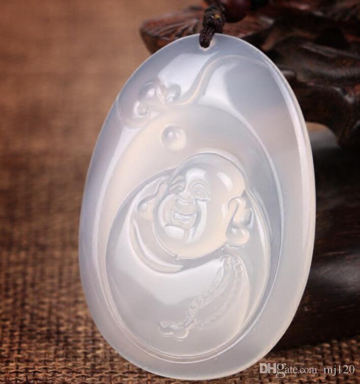 Натуральный лед белый халцедон улыбка Будды кулон кулон мужчины и женщины белый кристалл большой живот Будды кулон свитер цепи