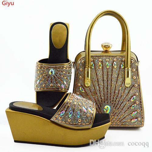 İtalyan Ayakkabı ve Çanta Seti Altın Rengi Bayan Ayakkabı ve Çanta Seti İtalya'da Afrika Bayan Ayakkabı ve Çanta Seti Parti İçin Kadınlarla!