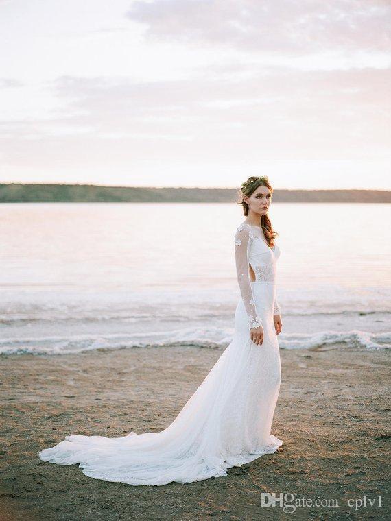 Blanc gaine en mousseline de soie robe à manches longues Boho mariage Backless 2020 New Sexy Hochzeitskleid Robe de Casamento Plage de Bohème Robes de mariée