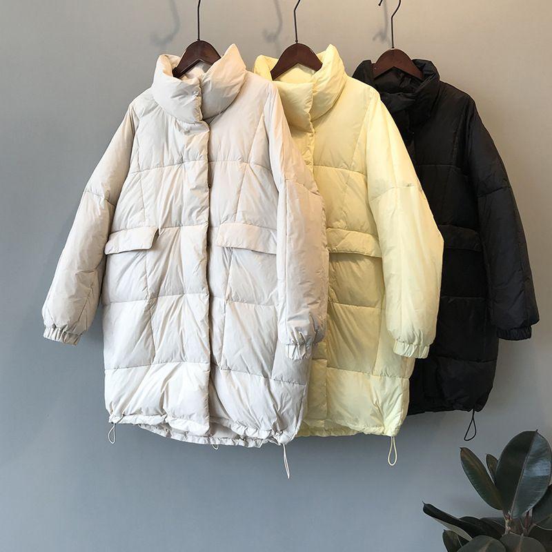 2019 Women Winter Long Coat Long Sleeve Oversize Style White Duck Down Warm Coat Light Casaco Feminino Parkas