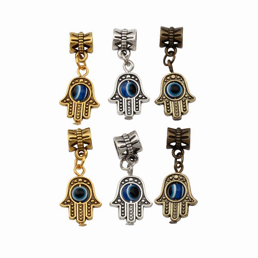 120pcs / lot Hamsa main charme bleu perle oeil Kabbale Bonne chance Dangles Perles Fit Charm Bracelet européenne 12.8x29.8mm 3color A-372a