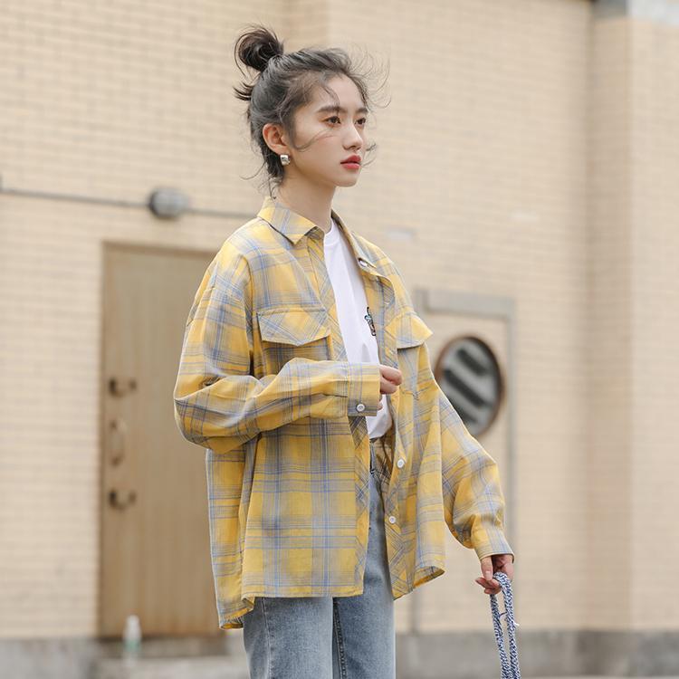 Высокое Качество Серии Свободные Рубашки Горячие Ins Корея Стиль Свободные Повседневные Уникальный Плед С Длинным Рукавом 2020 Новые Женщины Длинные Топы Блузка 8103