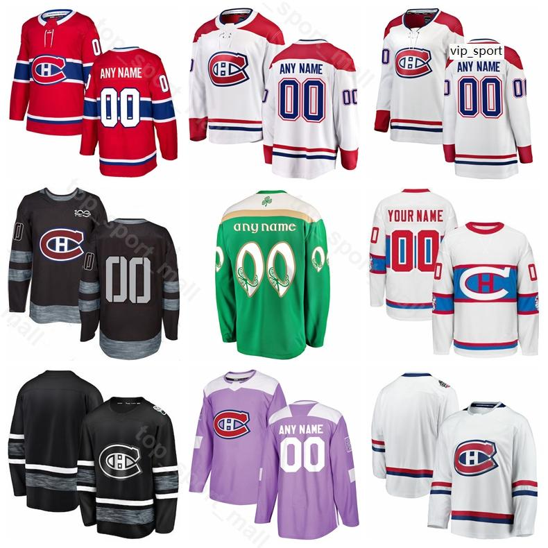 Personalizzato Montreal Canadiens Jordie Benn Jersey Hockey Joel Armia Jesperi Kotkaniemi Jonathan Drouin Tomas Plekanec St Patricks Day
