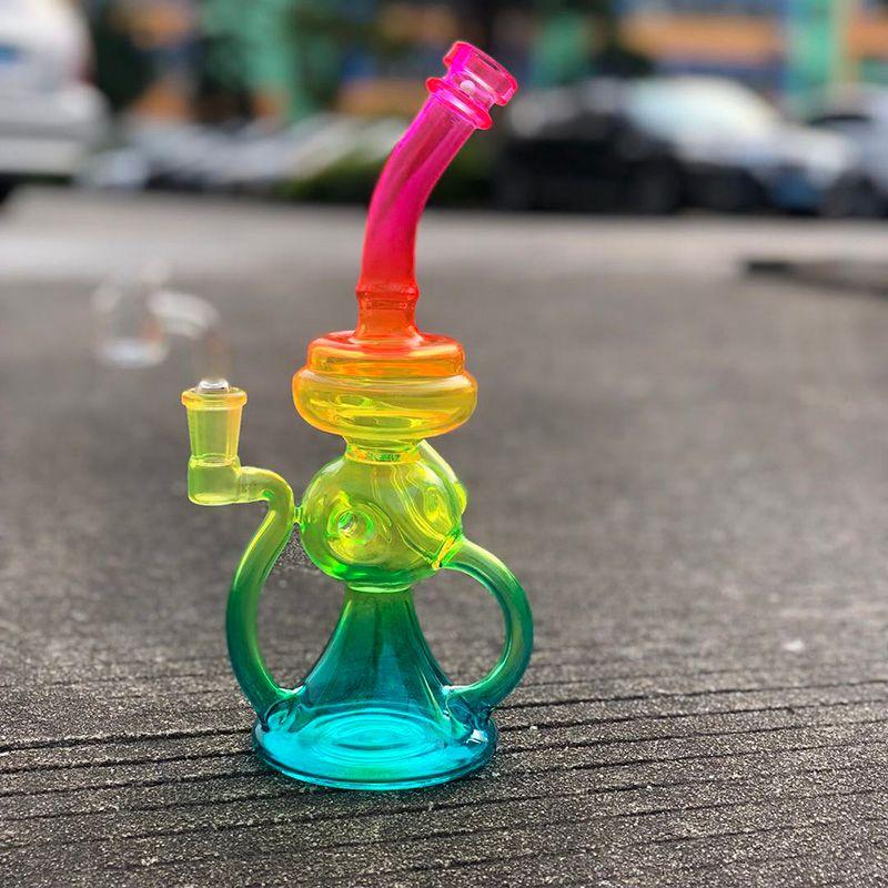 Rasta Renk Cam Bong Recycler Dab Rig 10 Inç Cam Su Borusu Serin Duş Başlığı Perc Oil Teçhizat Banger ile Banger