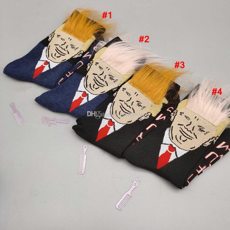 النساء الرجال ترامب طاقم الجوارب الشعر الأصفر مضحك الكرتون الرياضة الجوارب جوارب الهيب هوب جورب الشارع الشهير مع مشط هدية مجانية