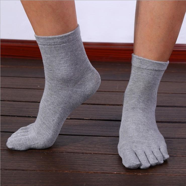 Algodón de temporada pantalones apretados de los pies de adultos sencilla adultos de cinco dedos calcetines calcetines de las polainas de los hombres
