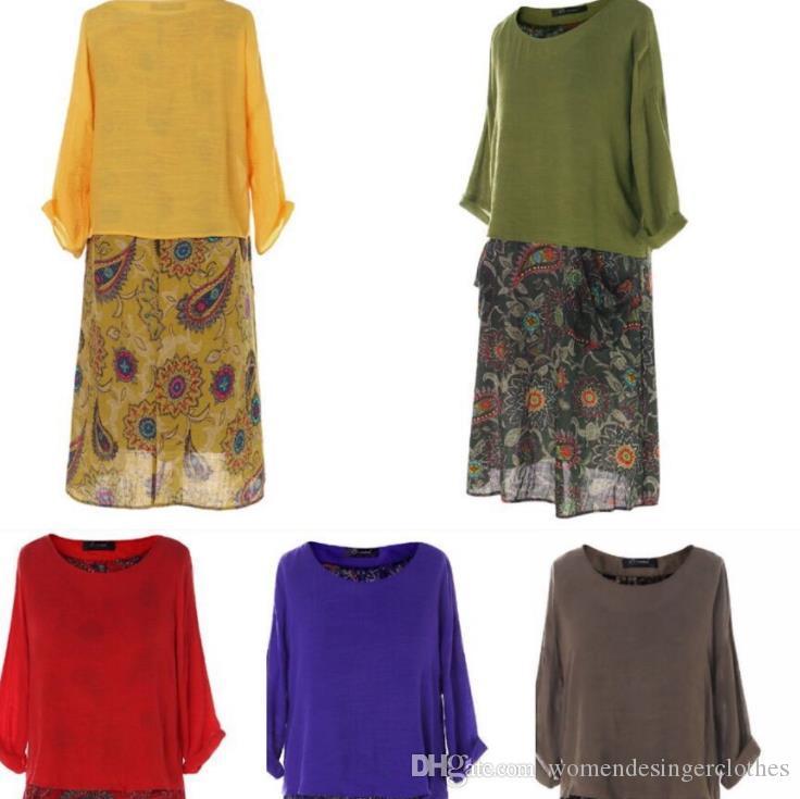 Beiläufige Frauen-Designer-Kleider Art und Weise beiläufige klassische Blumenmuster Langarm-lose Zweiteilige Kleider Damen Kleider