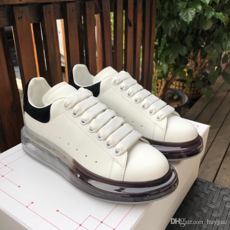 2020 Top Qualitäts-echtes Leder-Turnschuhe der Frauen der Männer Art und Weise weißes Leder-Plattform-Schuh-Luftpolster-Sohle Freizeitschuhe mit Kasten