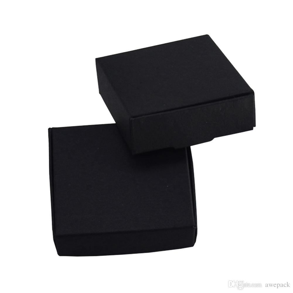 6.4*6.4*2.8cm Black Paperboard Packing Boxes DIY Gift Decorative Kraft Paper Boxes Handmade Soap Package Cardboard Boxes 50pcs/lot