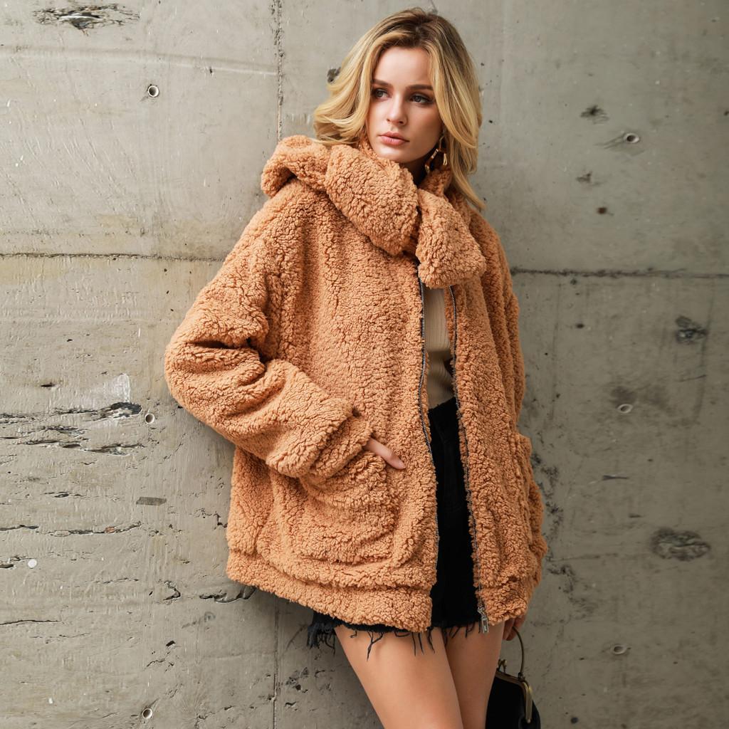 Mulheres Casacos de Inverno Quente Casacos de Lã Solto Cachecol Casaco Casuais Sólidos Faux Fur Bolso Outwear Cardigan Casaco Feminino Plus Size Novo