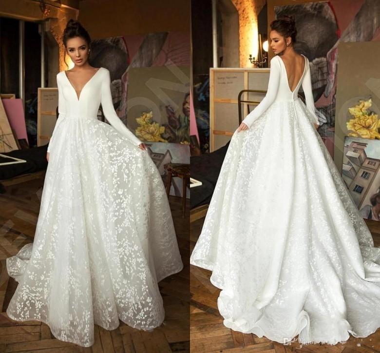 Sexy manica lunghi abiti da sposa 2020 di design di lusso pizzo Stain scollo a V principessa Chiesa Garden sposa da sposa abiti TG1999