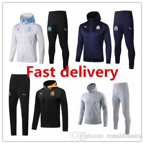 19 20 Marseille мужской куртки балахон Ocampos длинного рукав Балотелл костюмы футбола Джерси Thauvin капюшона тренировки рубашка Паого футбол пальто