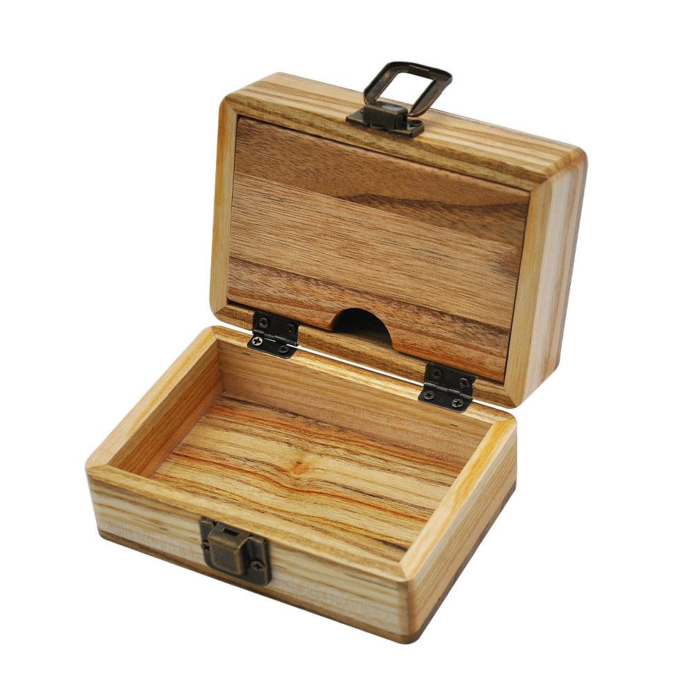 Wooden stash box wood handmade cigarette case simple wooden smoke box camphor wood plate with double lid multi function