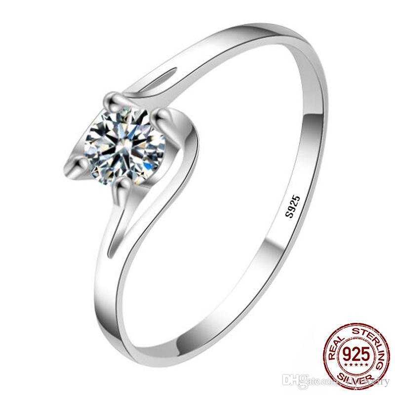 New Fashion Original 100% 925 Sterling Silver Wedding Heart Rings For Women Diamond Engagement Wedding Ring Fine jewelry Gift XR287