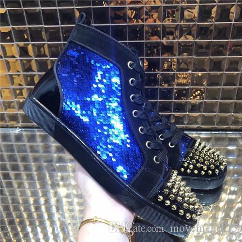 [Avec Box] Nouveau Noir Designer Fashion Marque Spikes Flats Chaussures Rouge Chaussures Bas, pour les hommes et les femmes Party Lovers Sneakers en cuir véritable