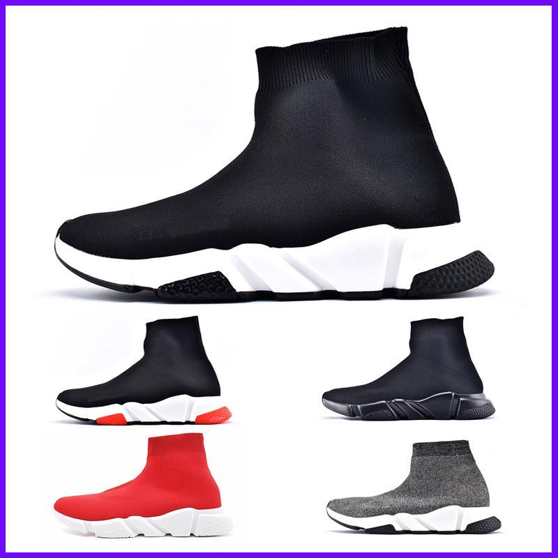 Marca de fábrica superior de lujo de las zapatillas de deporte de las mujeres de los hombres de París Trainer velocidad Negro Rojo Triple Moda calcetín zapatos de los cargadores para barato