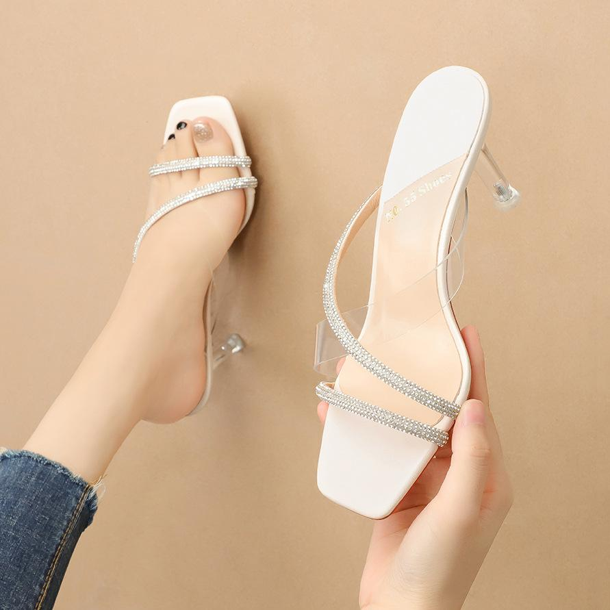 sandalet kayma-Moda kadın yaz yüksek topuklu ayakkabılar açık ağızlı lüks rhinstone 7.5cm seksi bayan parti ayakkabı-bağladı çapraz size35-40