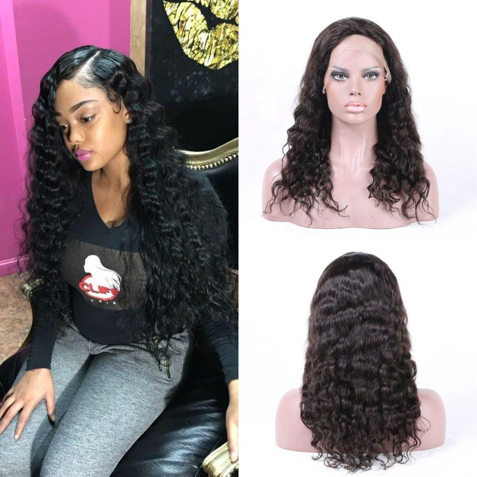 Cambodian Loose Deep Wave Lace Front Wigs with Baby Hair Natural Color Human Hair Lace Wigs with Straps