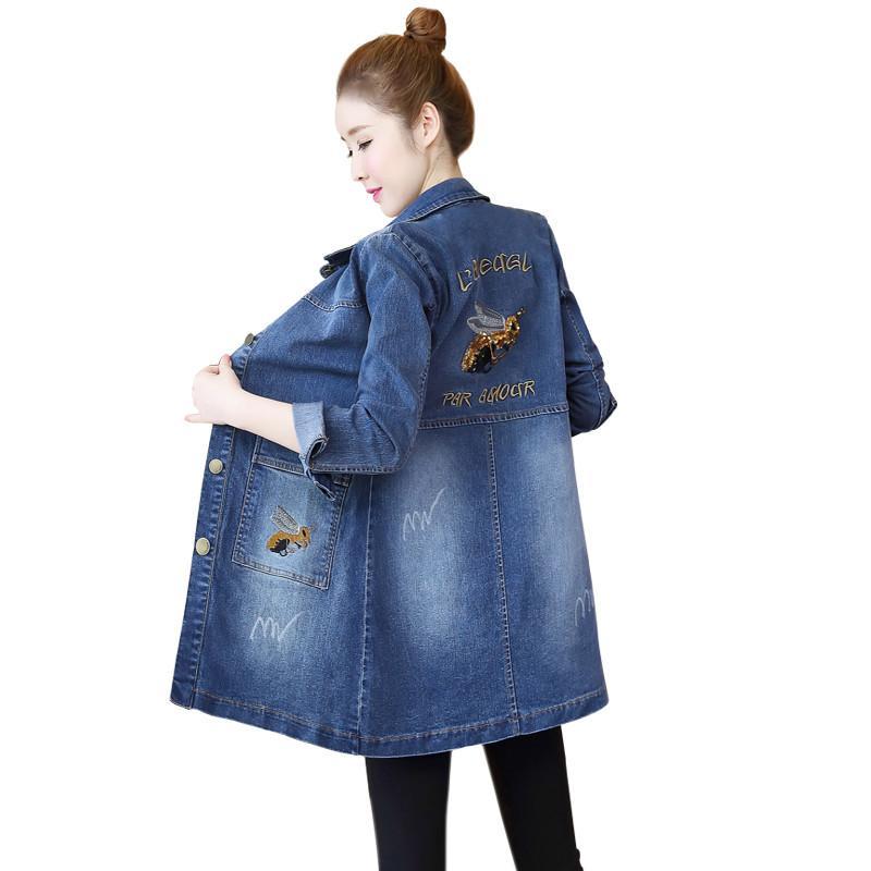 Модные джинсовые тренчи женские 2019 весна-осень однобортный с вышивкой ветровка женская плюс размер узкие джинсы плащ
