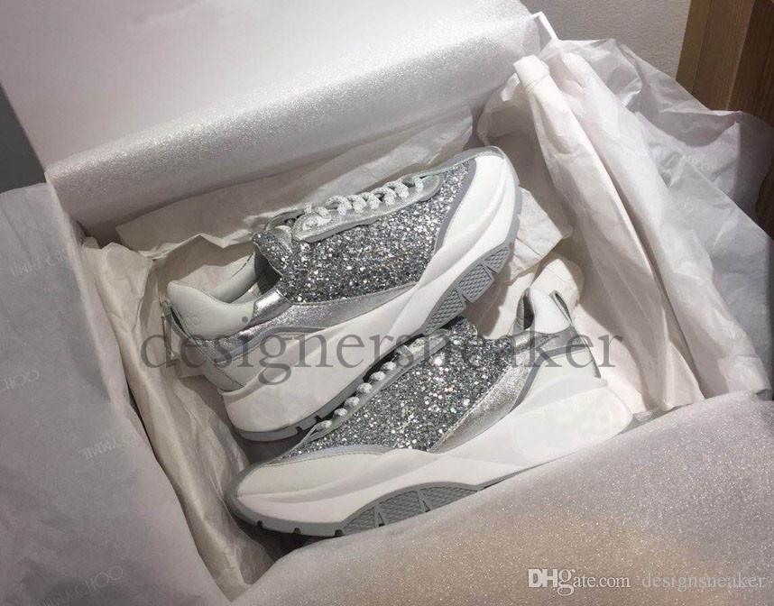 2019 Yeni Lüks Nakış Kadınlar Eğitmenler Ayakkabı Moda Yüksekliği Artırma Baskı İpek Günlük Ayakkabılar Tasarımcı Glitter Gümüş Sneakers