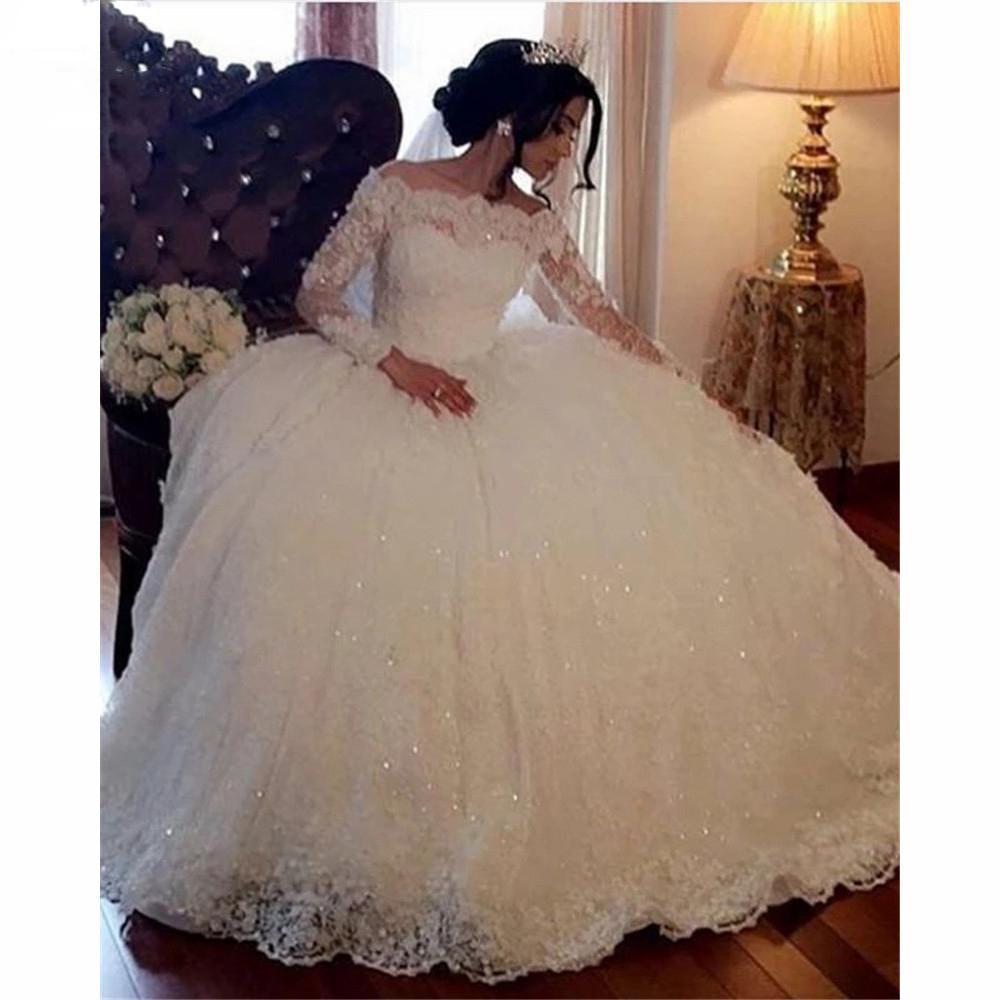 Spitze weg von der Schulter Brautkleider lange Ärmel Ballkleider Robe de mariage Lace Up Zurück vestido de noiva Brautkleider