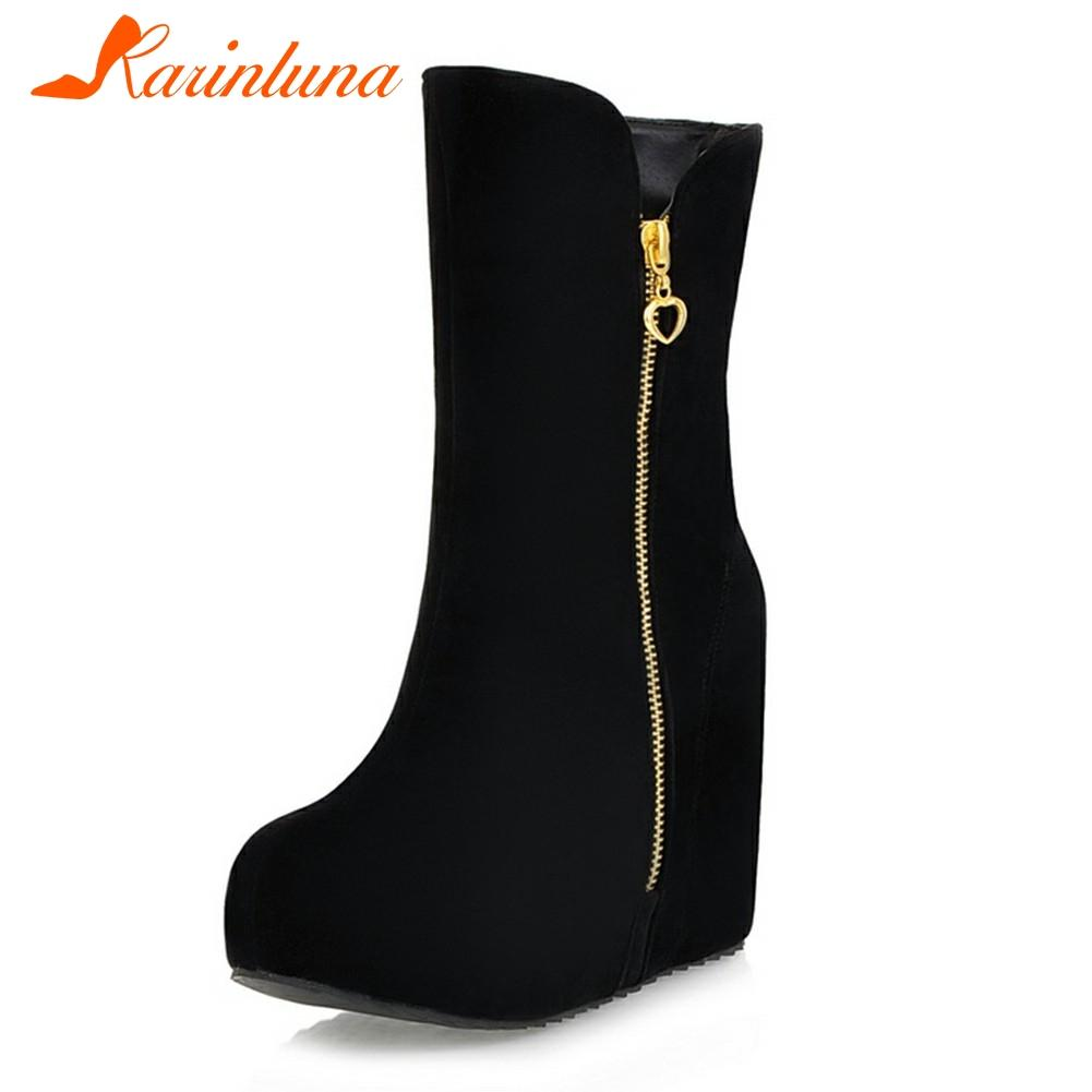 KARIN Brand New Wedges High Heels Zip Solid Platform Shoes For Women Casual Winter Mid-Calf Boots Black Big Size 32-43