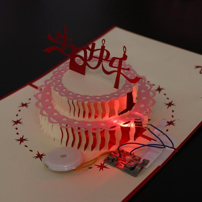Fantastic 3D Pop Up Greeting Card Happy Birthday Cake Music Led Postcard Birthday Cards Printable Benkemecafe Filternl