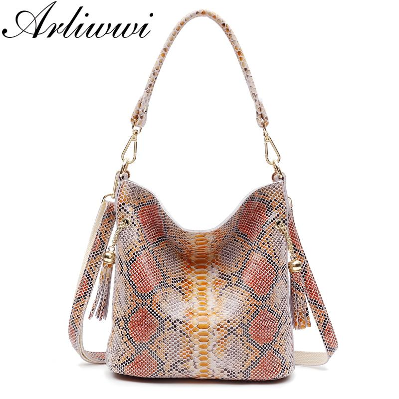 Arliwwi Echtes Leder Frau Schlangenhaut Handtaschen Luxus Designer 2 Ton Farben Damenmode Schulter Handtaschen Echtes Leder Y19061903