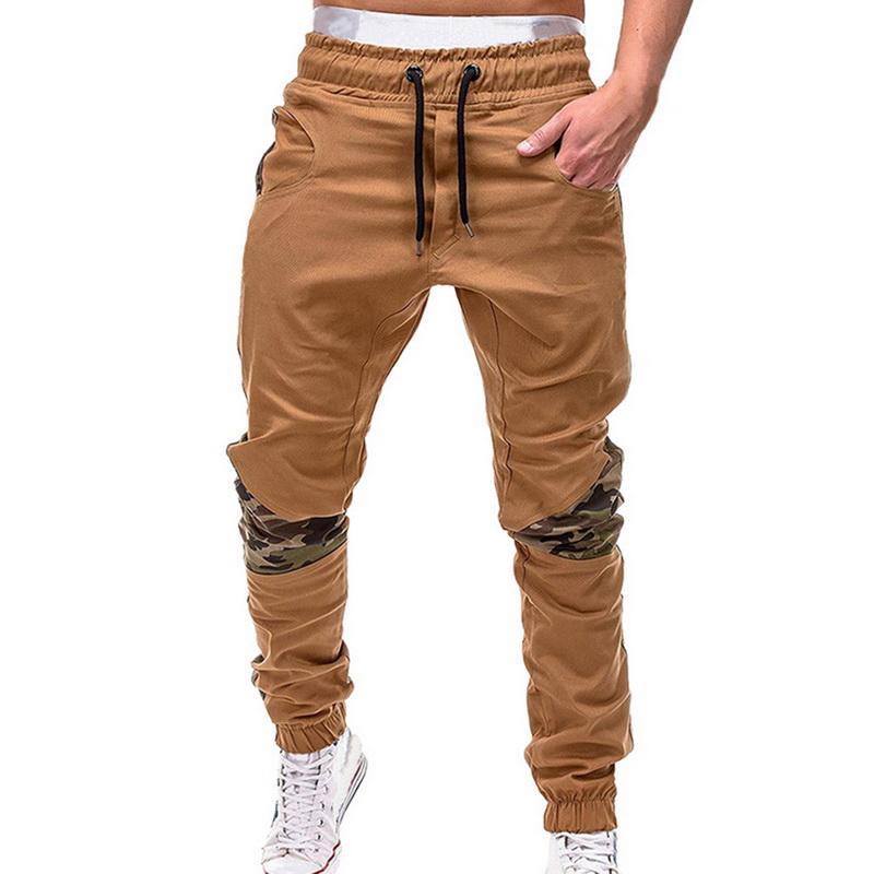 Shujin Mens Corredores Casual 2020 Masculino Camuflagem costura de algodão Harem Pencil Pants Hip sólidos Sweatpants Calças M-4XL