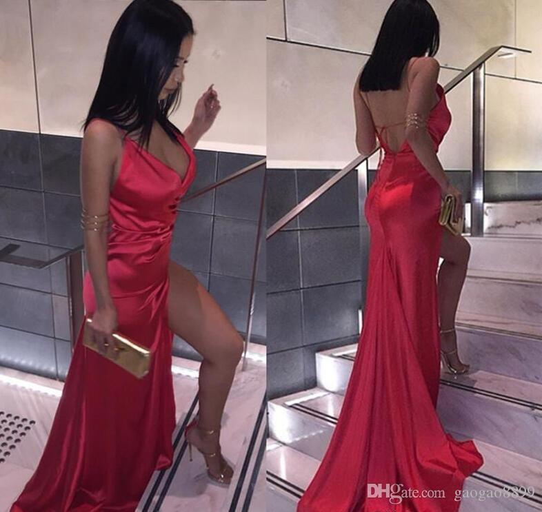 African Cheap Sexy Backless Red high Split Evening Party Dresses Sheath V Neck Plain Simple Satin Long Prom Gowns custom made