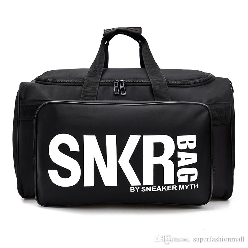 New SNKR Stylist Duffle Bag 19ss Mens Womens Stylist Bags Black White Large Capacity Travel Bag Gym Bags
