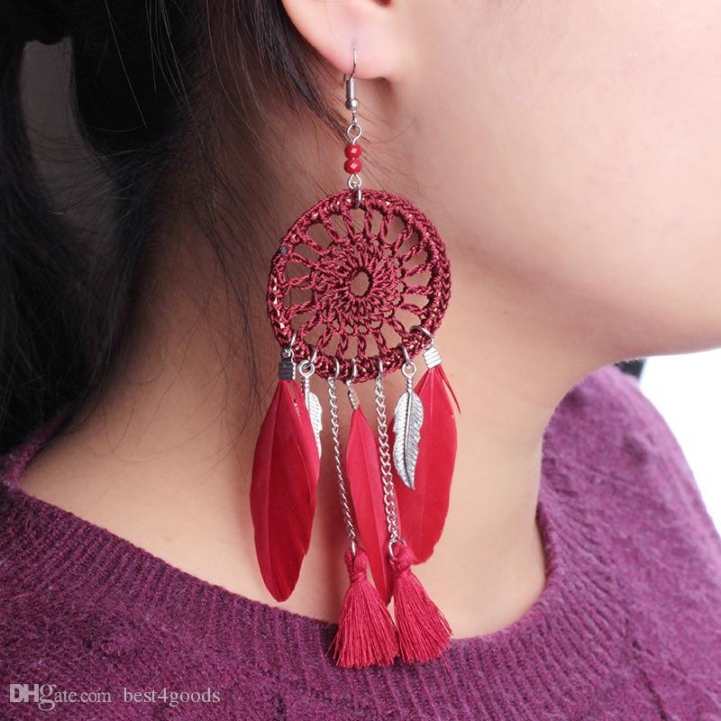 Women Blue Layer Feather Bohemian Boho party beach Dangle Earrings Ear Hook Drop