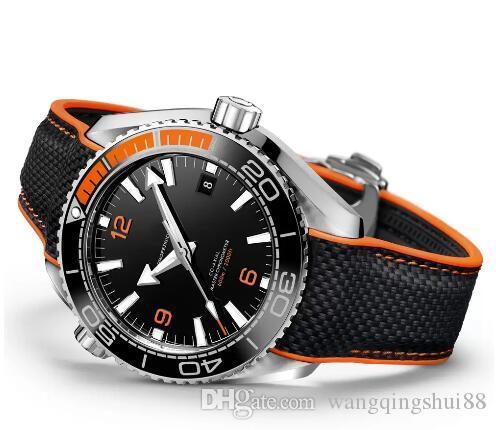 TOP нового Professional 600m Джеймс Бонд 007 Часы Master Коаксиальных Автоматического Movment нержавеющей Canvas Strap Спорт Мужские часы Наручные часы
