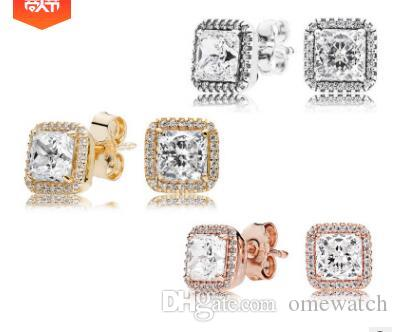 2019 Popular 925 Sterling Silver Square Big CZ Diamond Earring Fit Pandora Jewelry Gold Rose Gold Plated Stud Earring Women Earrings