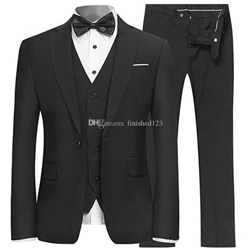 High Quality One Button Black Groom Tuxedos Notch Lapel Men Suits 3 pieces Wedding/Prom/Dinner Blazer (Jacket+Pants+Vest+Tie) W595