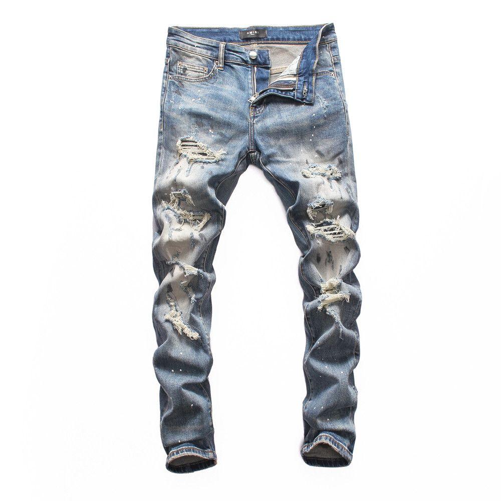 2020 Мужские джинсы дизайнер Проблемные Ripped Байкер Slim Fit Мотоцикл Байкер Denim для мужчин White Хип-хоп мужские узкие джинсы