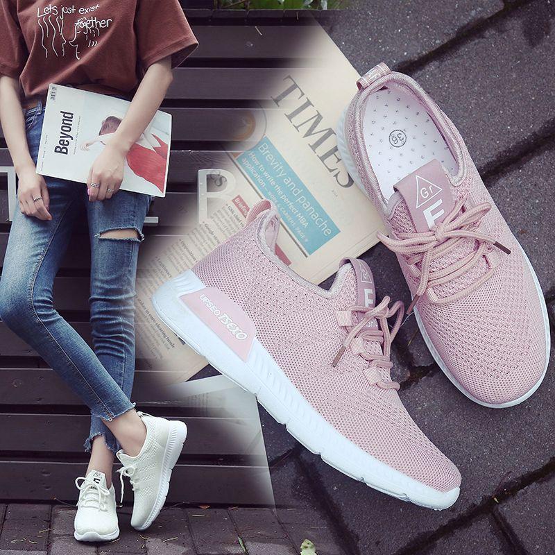 Women Casual Shoes Fashion Tenis Feminino Light Breathable Mesh Flat Sneakers Women Shoes Woman Ladies Female Walking Shoes MX190816