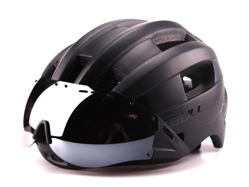 Ultra-light 235g Goggles Cycling Helmet Road Mountain MTB Bicycle Helmet In-mold Bike Helmet With Sun Visor Helmet M54-58cm (7)