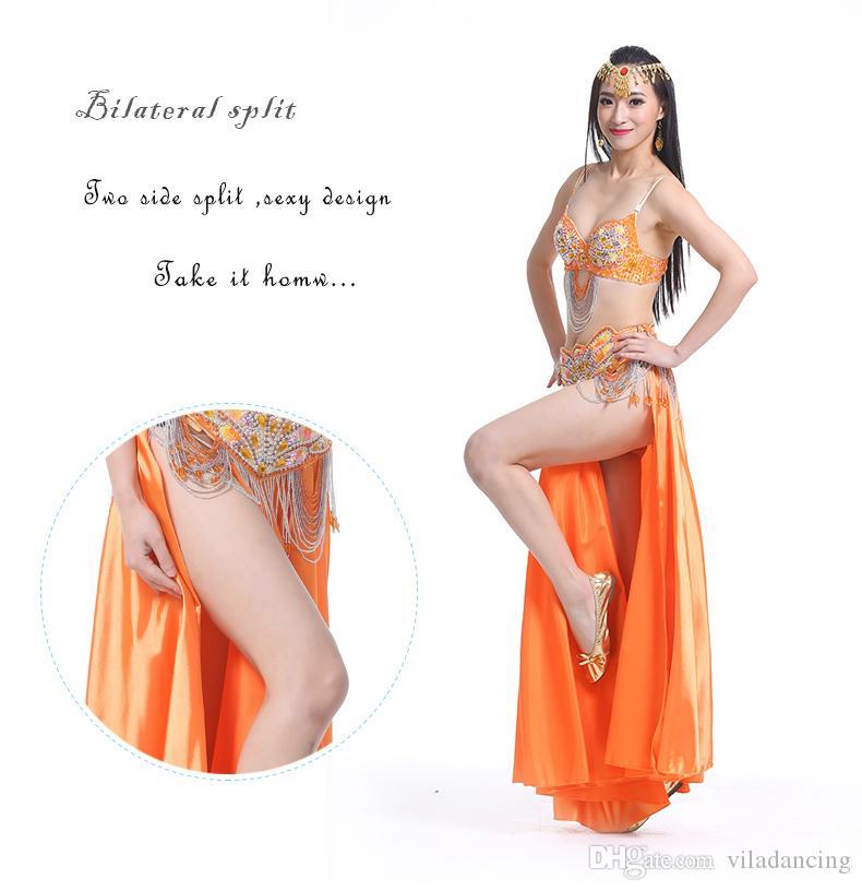 2019 New Women 's 페르시 Crystal 배꼽 춤 마치 남자들 한복 착용 바 + 벨트 + Skirt 3 개 set Sexy 배꼽 춤 의상 배꼽 춤 옷
