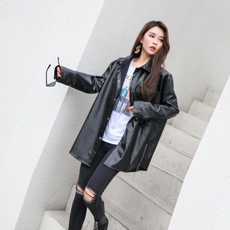 2018 novas jaquetas de couro mulheres outono inverno único breasted jeckets solto plus size bf estilo pu outerwear de couro zíperes casacos