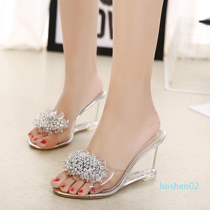 Mulheres Moda Verão Cristal Sandals Peep Toe Cunhas 8.5cm Heel Sexy frisada Mulheres Sandals Tamanho 34-40 l02