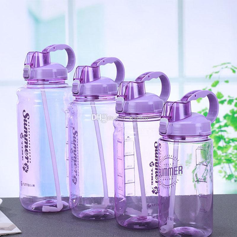 Portable Drinking Straw Water Bottle Food Grade PC Sport Water Non Leak Scale Marked Water Cup Mug 1000ml 1500ml 2000ml 3000ml WX9-1249