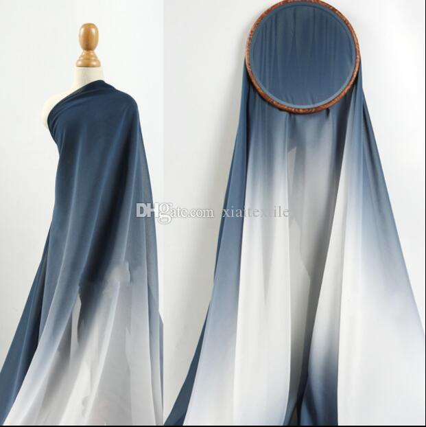 3style Gradient translucent soft breathable Chiffon wedding dress skirt fabric clothing diy home textiles tailor mannequin fabric C562