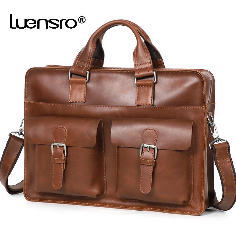Vintage Business Men Travel Leather Crazy Bag Handbag Male 15.6 Inch Laptop Shoulder Genuine Men's Briefcase Horse Dnmfi