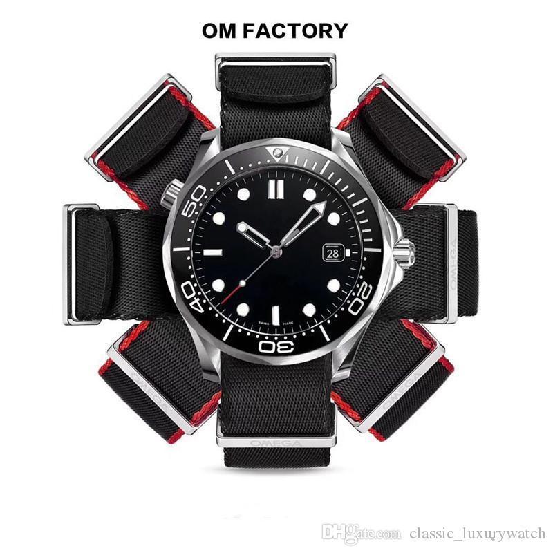 hombre de lujo OM reloj de la tabla relojes 300 metros de buceo 41mm.316 con la cáscara de acero duro 2824 liftado movimiento automático change2507 reloj de lujo