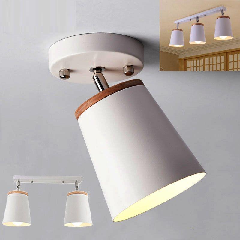 Modern Led Tavan Işık Fikstürü Demir Abajur Ile Ahşap Ayarlanabilir Açı Nordic Kapalı Asılı Lamba Koridor Aisel E27 White-I30
