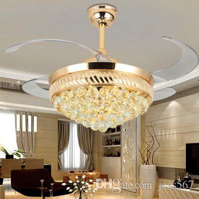 42inch Modern LED Kristal Tavan Hayranları 4 Görünmez Çekilebilir Bıçaklar Sarkıt ile Uzaktan Kumanda Avize Tavan Fan Işık 42inch