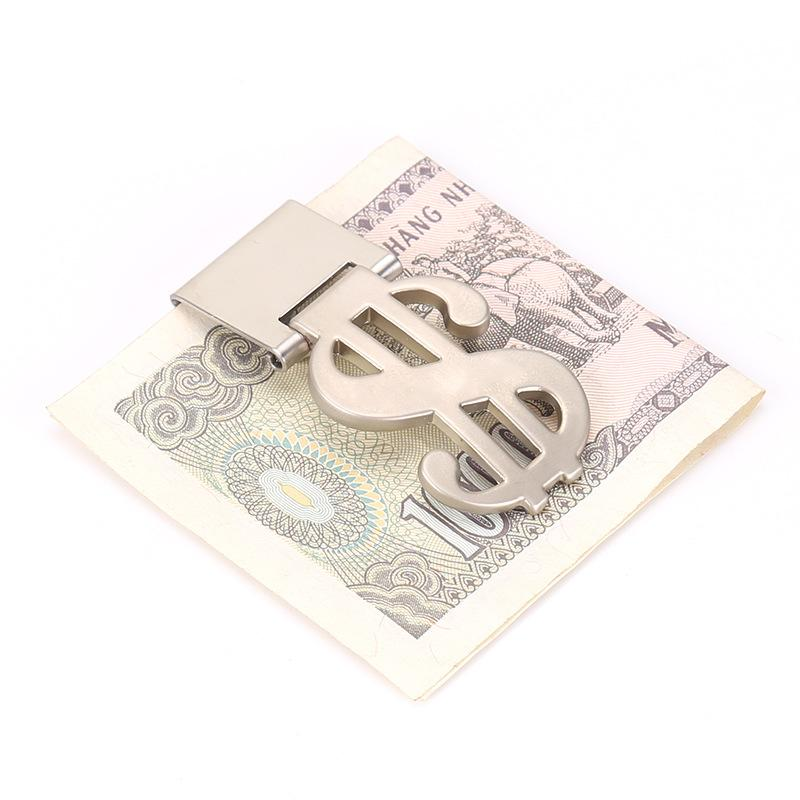 Stainless Steel Money Clips Cash Holder Front Pocket Silver Dollar Price Clips Metal Dollar Sign Man Fashion Wallets